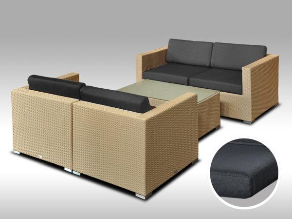 Umělý ratan - luxusní sedací souprava ALLEGRA 5 písková 4 osoby, tmavě šedé polstr + DÁREK