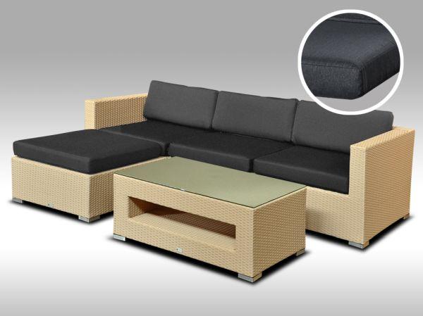 Luxusní rohová sedací souprava ALLEGRA 7 písková 3-4 osoby, tmavě šedé polstry + DÁREK