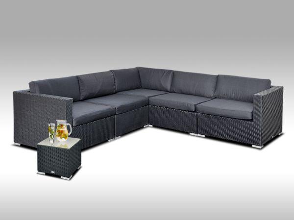Luxusní rohová sedací souprava ALLEGRA 13 černá s odkládacím stolkem, 4 osoby + DÁREK