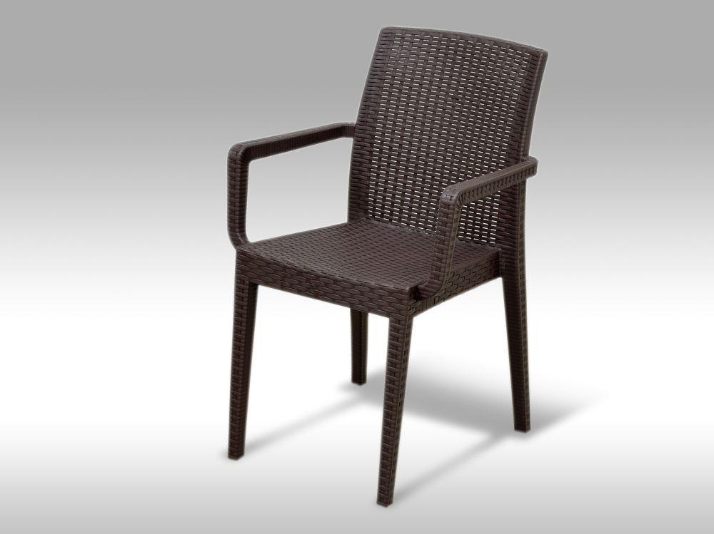 Zahradní plastová židle s područkami Alicante hnědá
