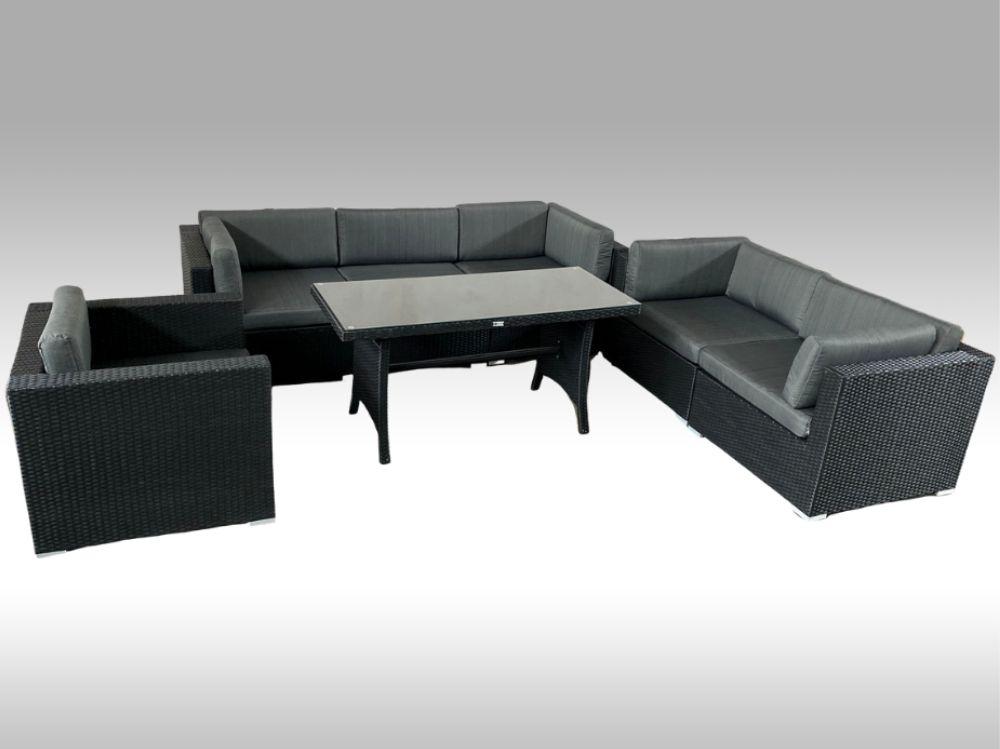 Umělý ratan - luxusní sedací souprava 2v1 ALLEGRA 4 černá 6 osob