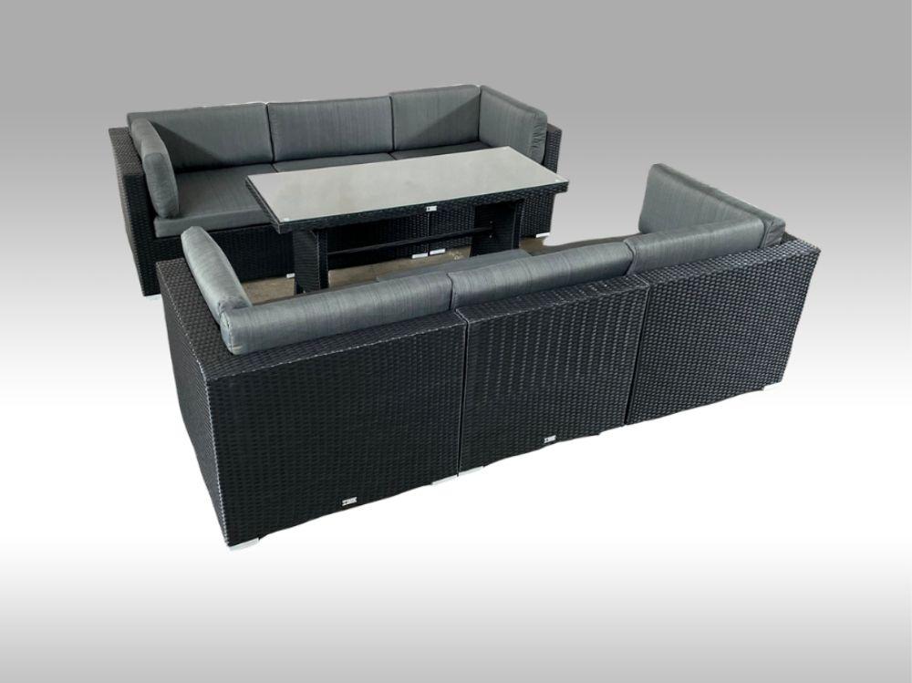Umělý ratan - luxusní sedací souprava 2v1 ALLEGRA 6 černá 6 osob + DÁREK