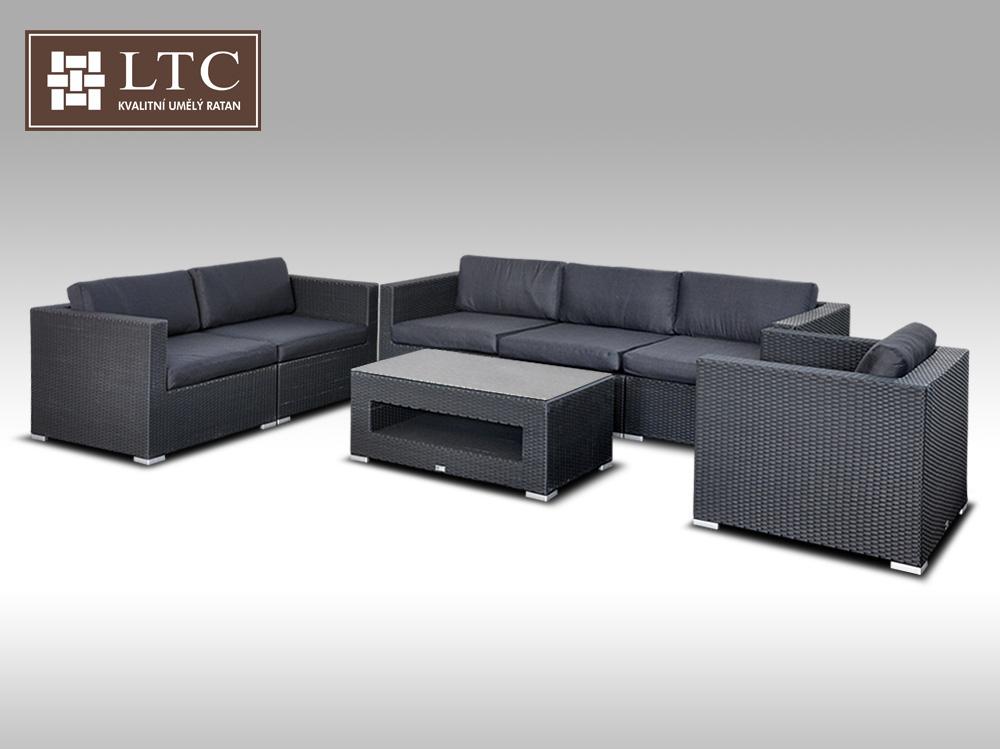 Umělý ratan - luxusní sedací souprava ALLEGRA IV černá 6 osob