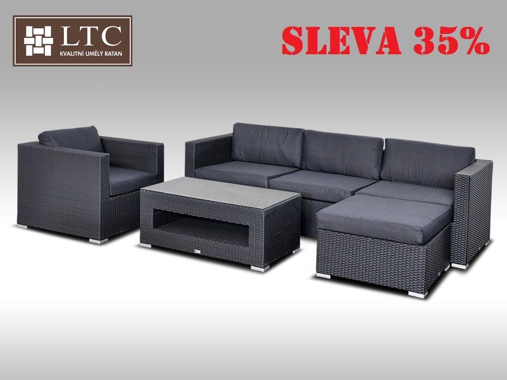 Luxusní rohová sedací souprava ALLEGRA VIII černá 4-5 osob