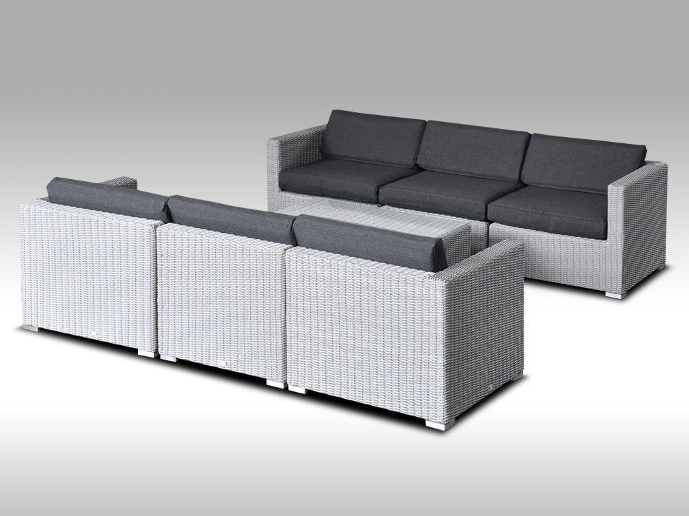 Umělý ratan - luxusní sedací souprava ALLEGRA VI šedá 6 osob, kulatý ratan + DÁREK