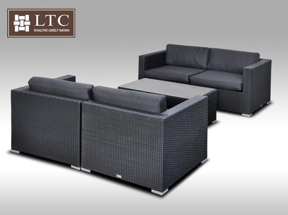 Umělý ratan - luxusní sedací souprava ALLEGRA 5 černá 4 osoby + DÁREK