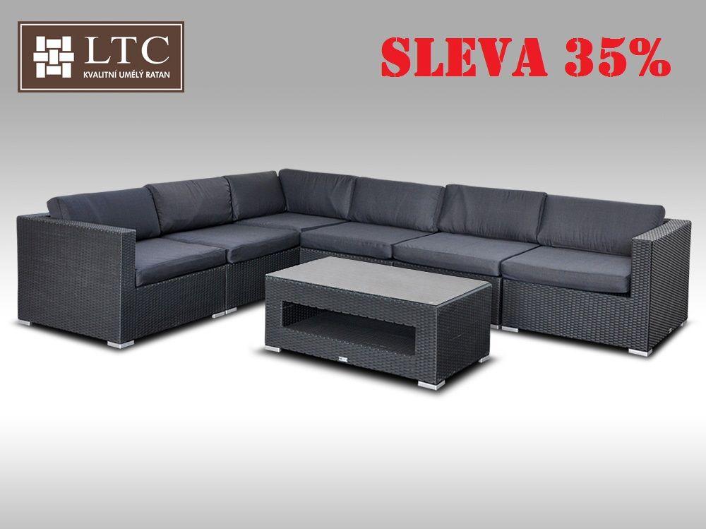 Luxusní rohová sedací souprava ALLEGRA XIV černá 5 osob