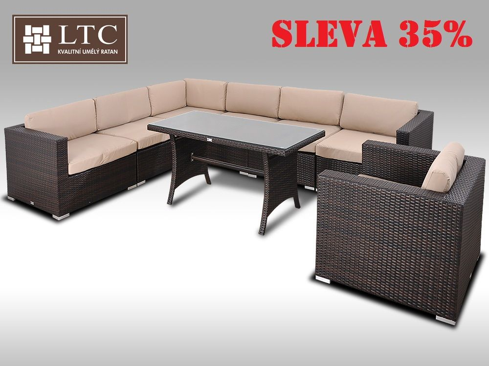 Luxusní jídelní a sedací souprava ALLEGRA XV 2v1 hnědá 6 osob, světle hnědý polstr
