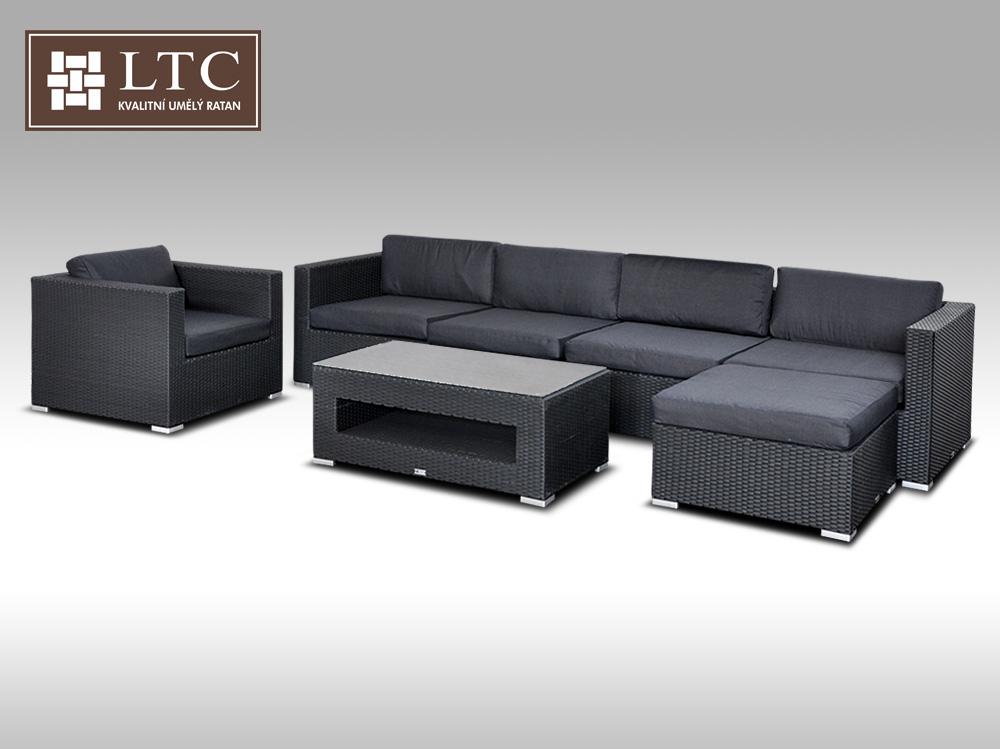 Luxusní rohová sedací souprava ALLEGRA X černá 5-6 osob