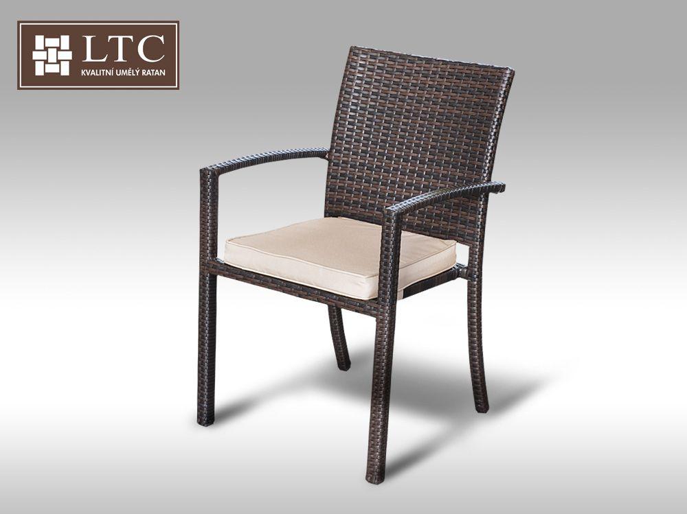 Židle z umělého ratanu Armino hnědá, světle hnědý polstr