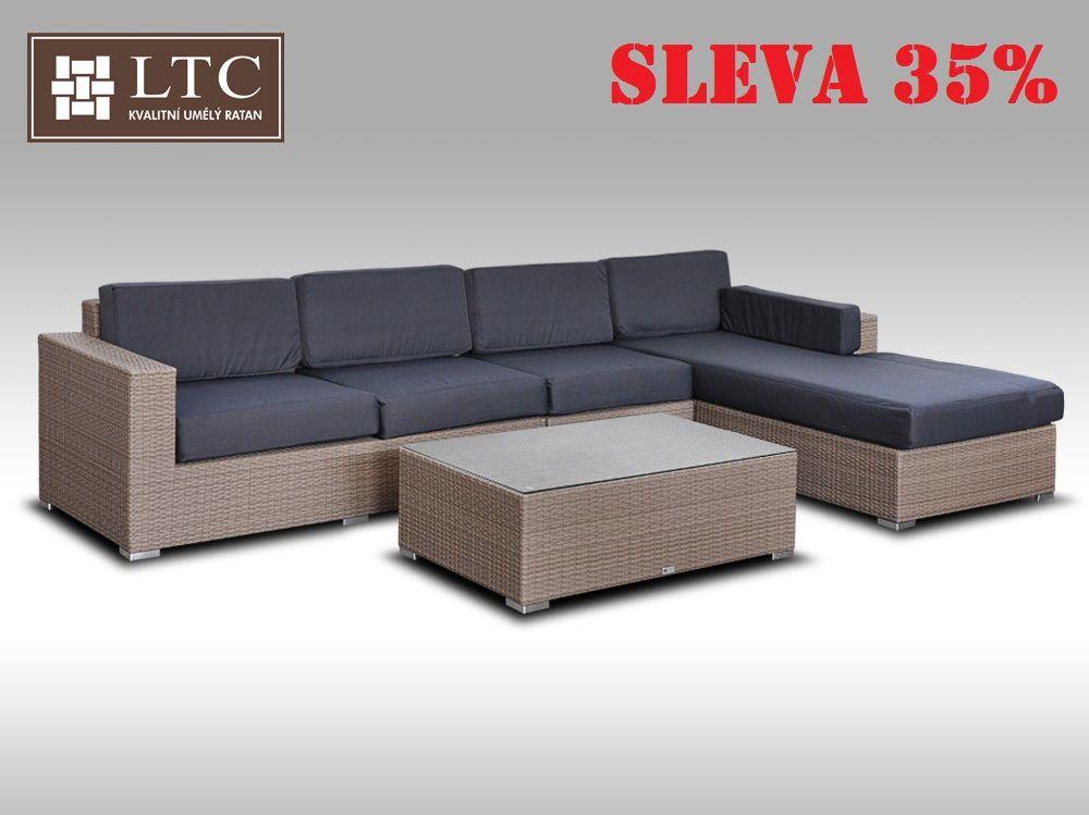 Luxusní sedací souprava z umělého ratanu Conchetta III šedobéžová 3,22x1,9m