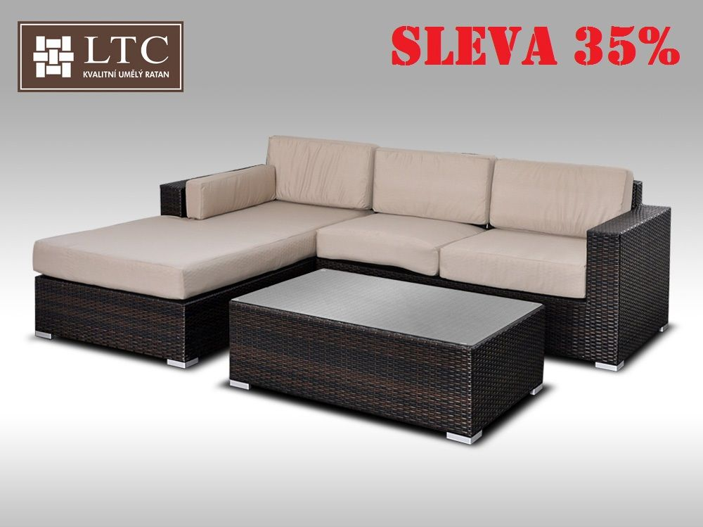 Luxusní sedací souprava z umělého ratanu Conchetta II 2,48x1,9m, světle hnědý polstr