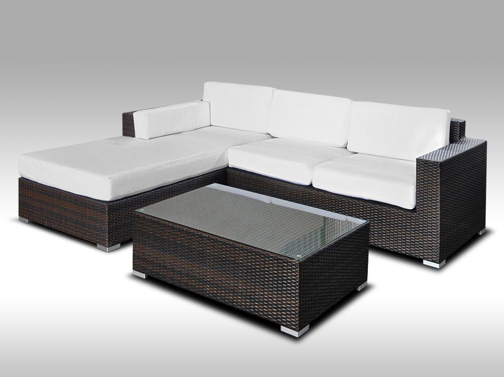 Luxusní sedací souprava z umělého ratanu Conchetta II 2,48x1,9m + DÁREK