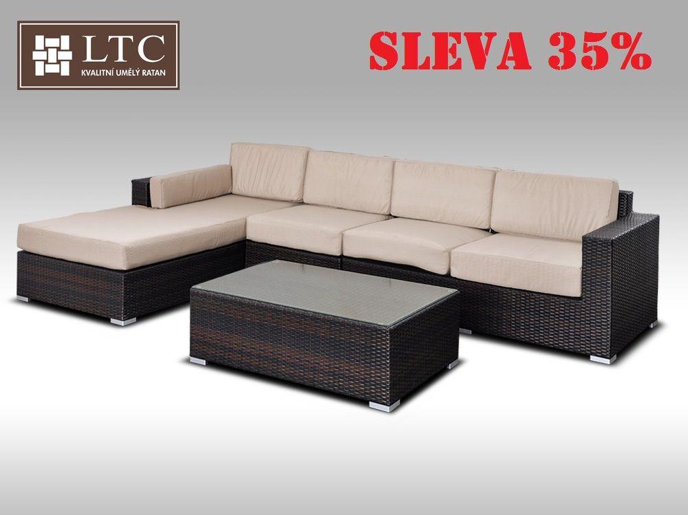 Luxusní sedací souprava z umělého ratanu Conchetta IV 3,22x1,9m, světle hnědý polstr