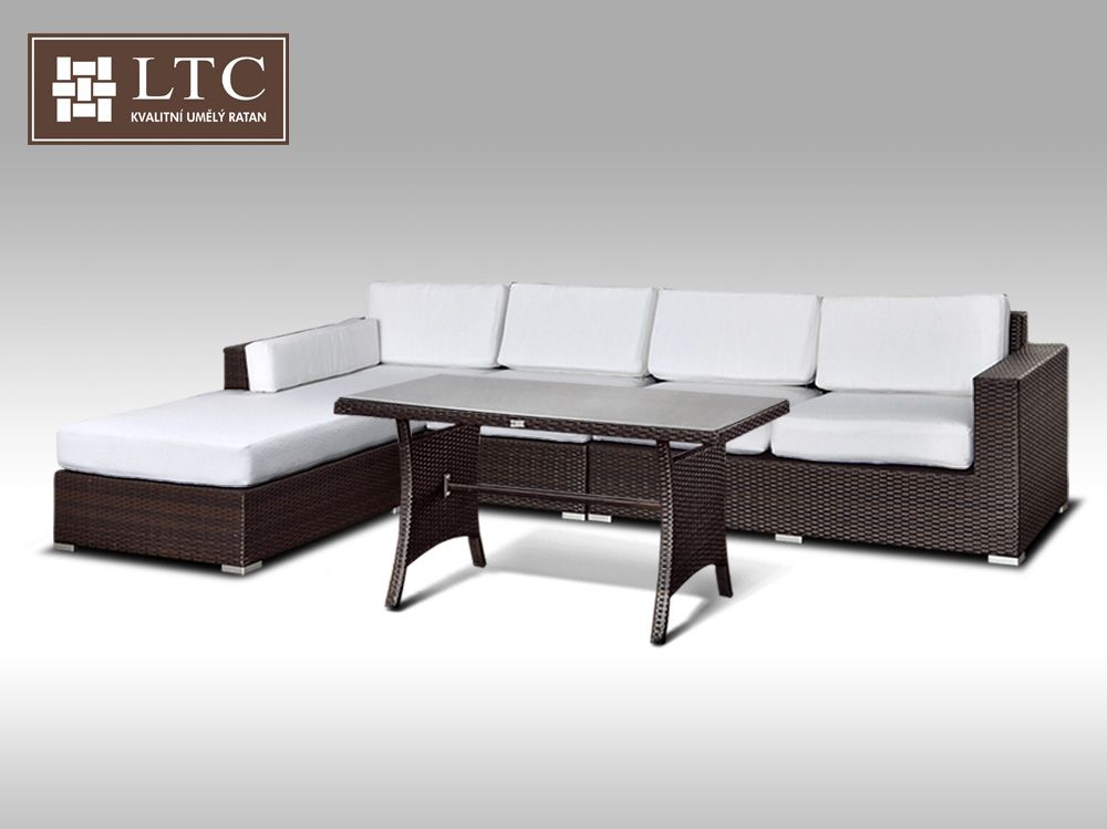 Luxusní sedací souprava z umělého ratanu Conchetta IX 2v1 3,22x1,9m