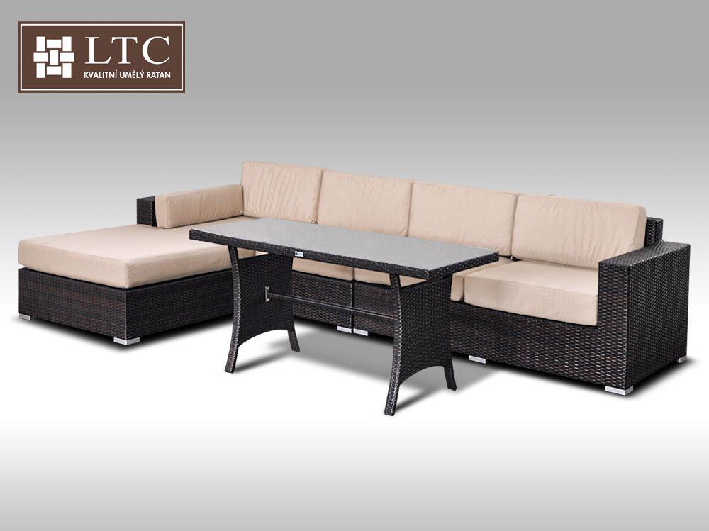 Luxusní sedací souprava z umělého ratanu Conchetta IX 2v1 3,22x1,9m, světle hnědý polstr