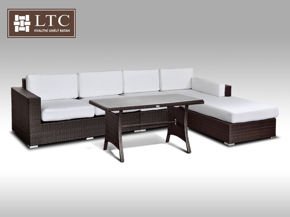 Luxusní sedací souprava z umělého ratanu Conchetta VIII 2v1 3,22x1,9m