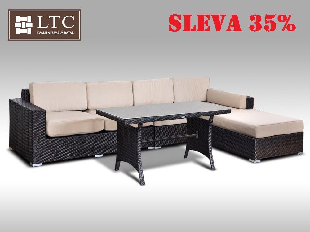 Luxusní sedací souprava z umělého ratanu Conchetta VIII 2v1 3,22x1,9m, světle hnědý polstr
