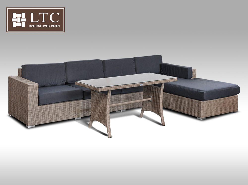 Luxusní sedací souprava z umělého ratanu Conchetta VIII 2v1 šedobéžová 3,22x1,9m