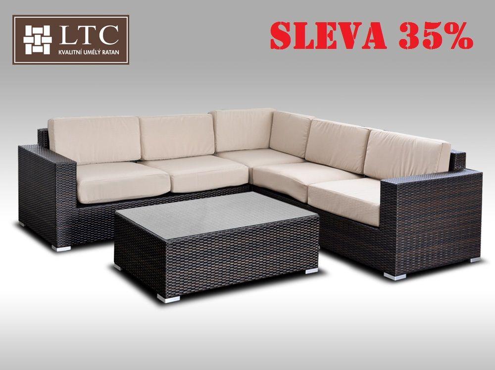 Luxusní sedací souprava z umělého ratanu Conchetta V 2,42x2,42m, světle hnědý polstr