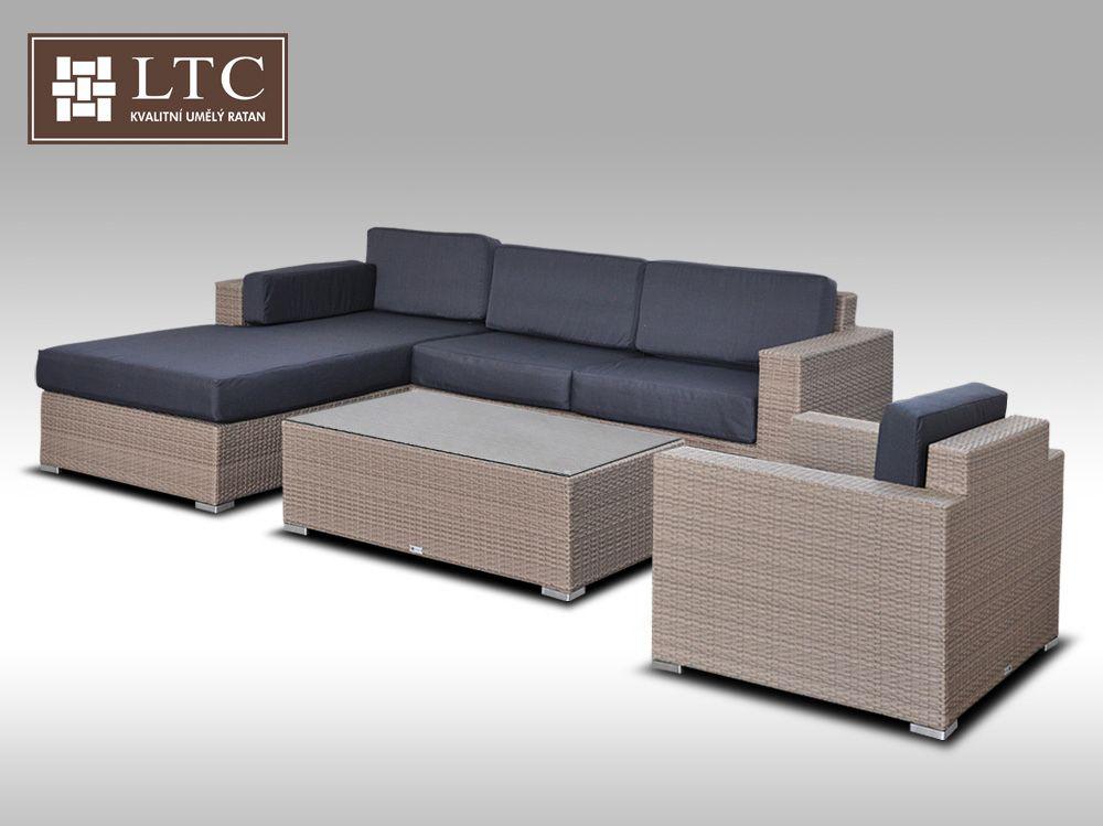 Luxusní sedací souprava z umělého ratanu Conchetta XIII šedobéžová 2,48x1,9m