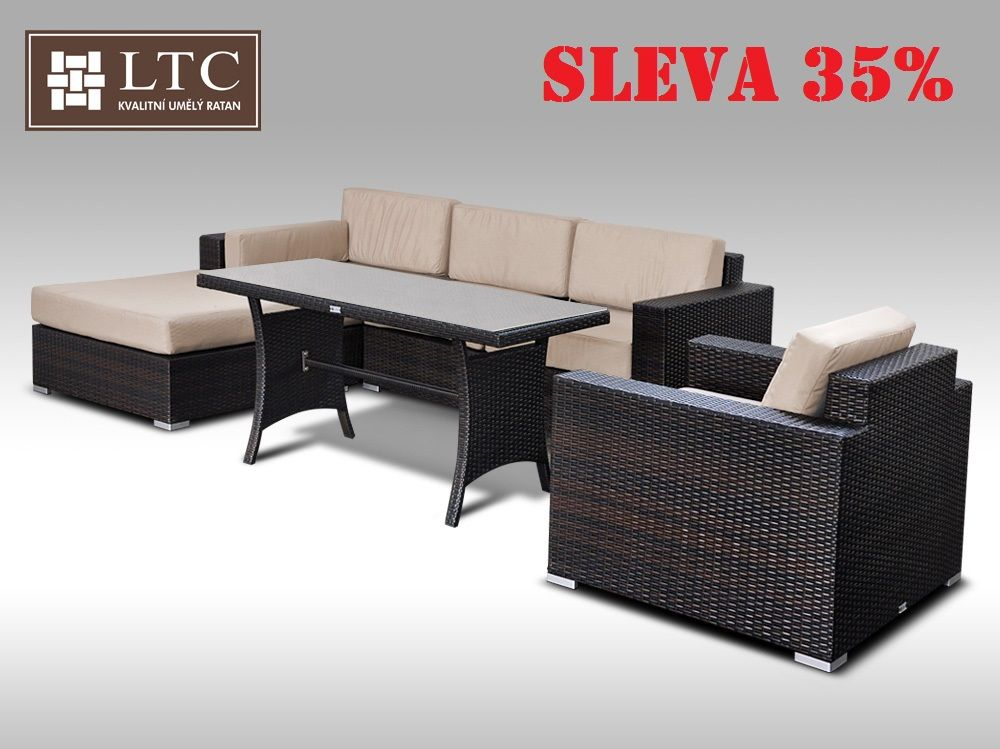 Luxusní sedací souprava z umělého ratanu Conchetta XIV 2v1  2,48x1,9m, světle hnědý polstr