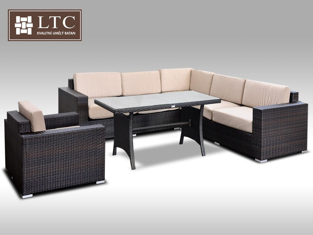 Luxusní sedací souprava z umělého ratanu Conchetta XIX 2v1 2,42x2,42m, světle hnědý polstr