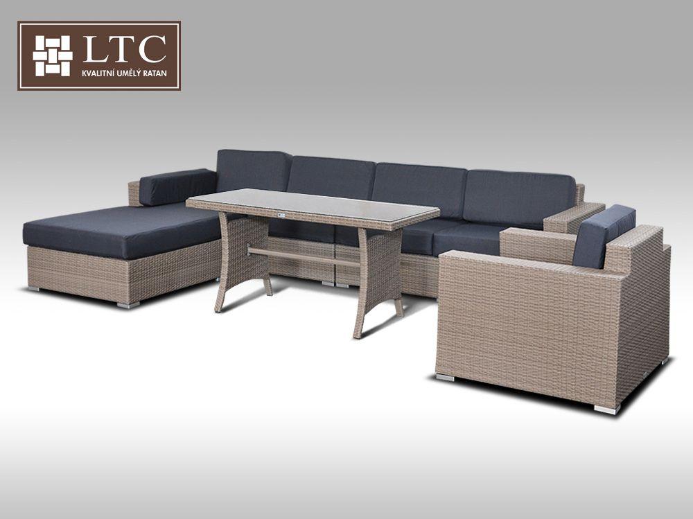 Luxusní sedací souprava z umělého ratanu Conchetta XVIII 2v1 šedobéžová 3,22x1,9m