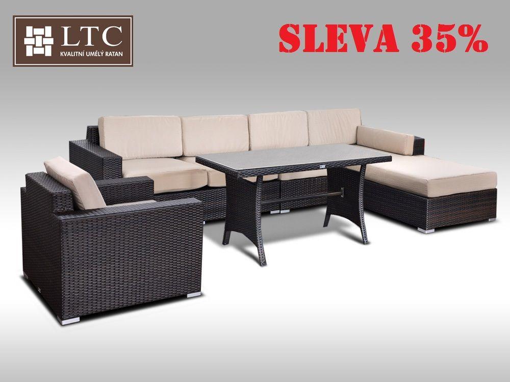 Luxusní sedací souprava z umělého ratanu Conchetta XVI 3,22x1,9m, světle hnědý polstr