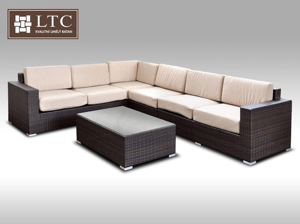 Luxusní sedací souprava z umělého ratanu Conchetta XXII 2,42x3,16m, světle hnědý polstr