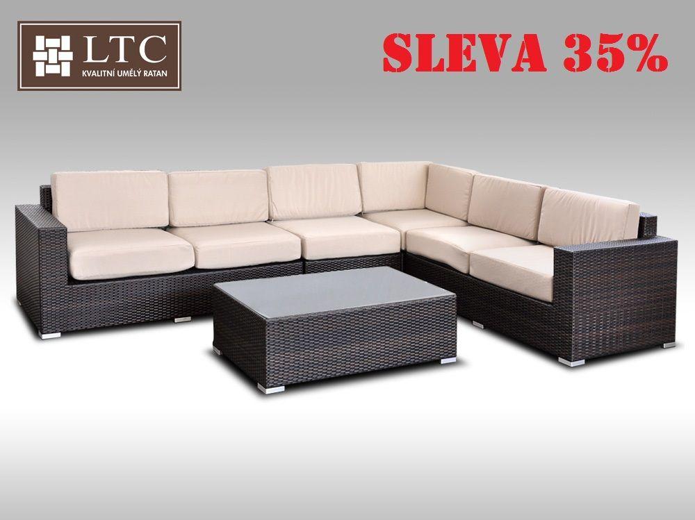 Luxusní sedací souprava z umělého ratanu Conchetta XXI 3,16x2,42m, světle hnědý polstr