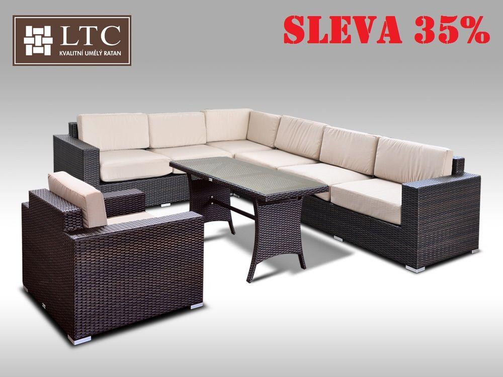 Luxusní sedací souprava z umělého ratanu Conchetta XXVIII 2v1 2,42x3,16m, sv. hnědý polstr