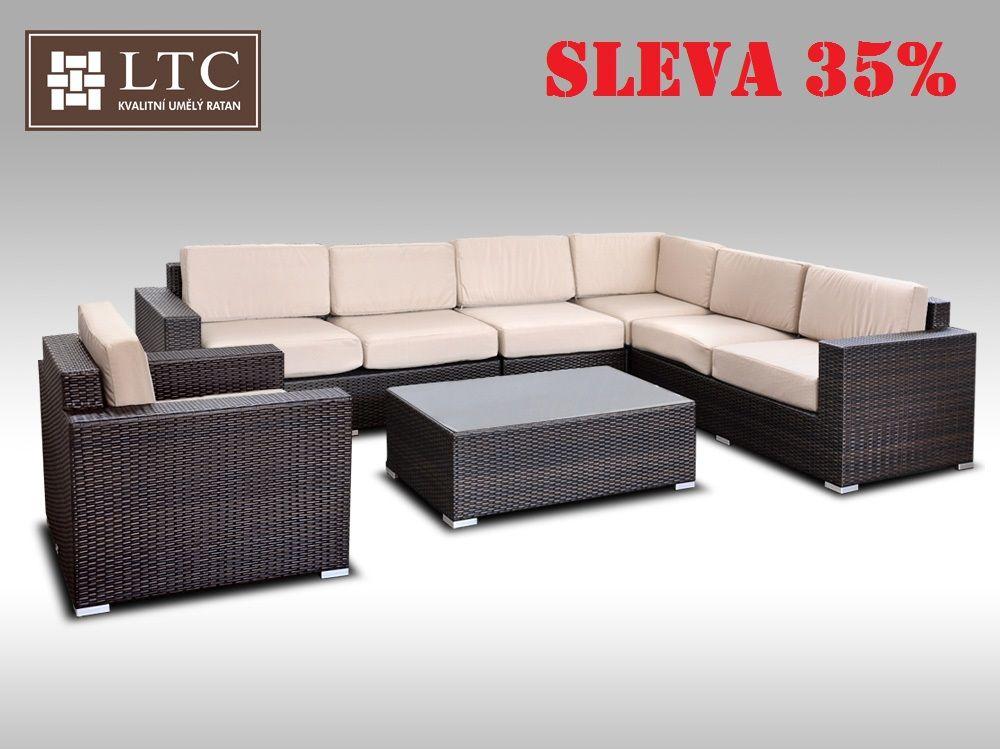Luxusní sedací souprava z umělého ratanu Conchetta XXV 3,16x2,42m, světle hnědý polstr