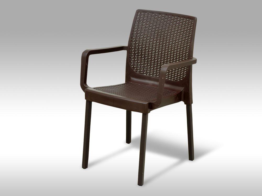 Zahradní plastová židle s područkami Cordoba hnědá - poslední 2ks