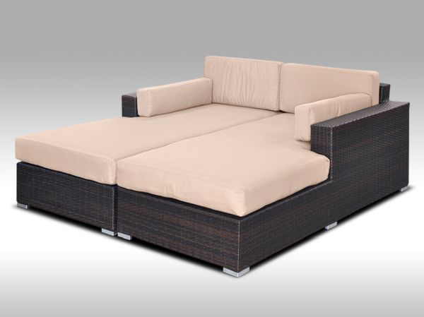 Luxusní sedací souprava z umělého ratanu Conchetta 30, světle hnědý polstr