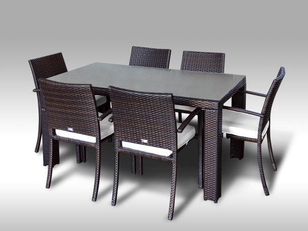 Umělý ratan - jídelní sestava Enrico 160 + 6 židlí Armino hnědá