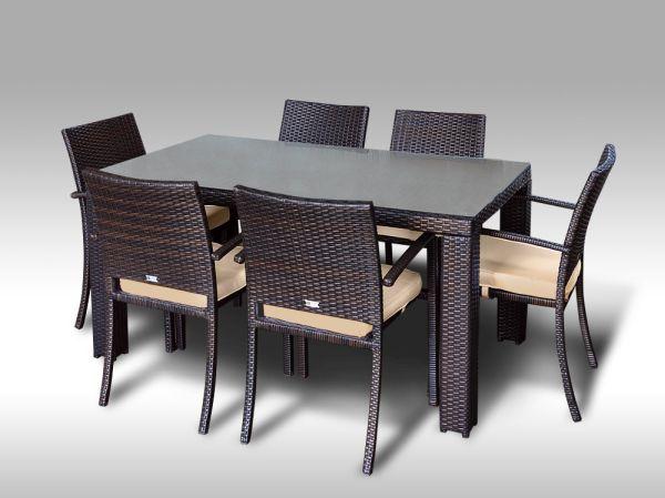 Umělý ratan - jídelní sestava Enrico 160 + 6 židlí Armino hnědá, světle hnědý polstr