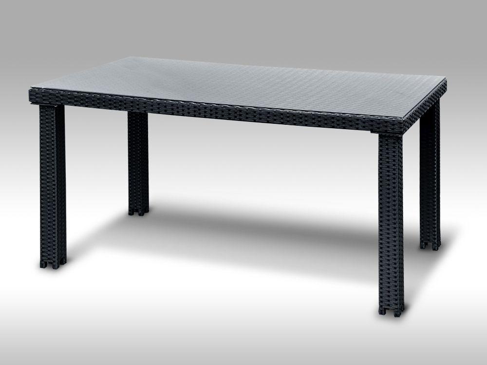 Umělý ratan - stůl Enrico 160x90  černý