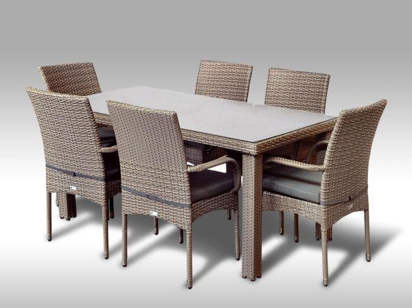 Umělý ratan - jídelní sestava Enrico 160 + 6 židlí Pietro šedobéžová