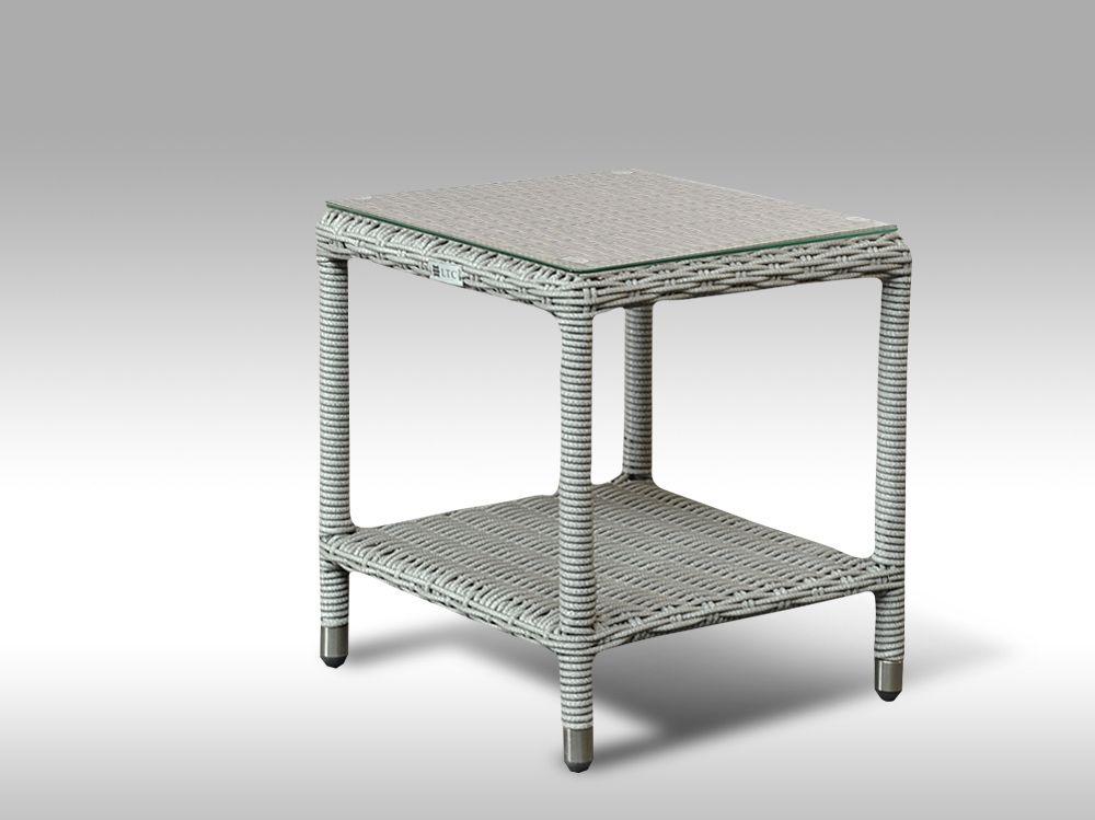 Umělý ratan - stůl Marco šedý, kulatý ratan