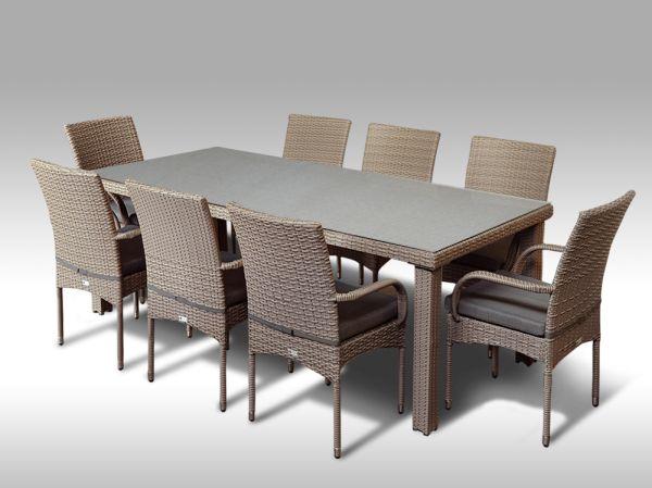 Umělý ratan - jídelní sestava Orlando 220 + 8 židlí Pietro šedobéžová