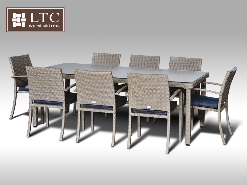 Umělý ratan - jídelní sestava Enrico 220 + 8 židlí Armino šedobéžová + DÁREK