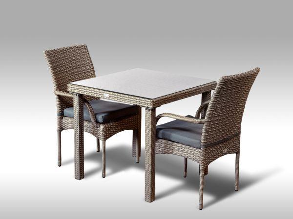 Umělý ratan - jídelní sestava Orlando 80 + 2 židle Pietro šedobéžová