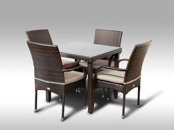 Umělý ratan - jídelní sestava Orlando 80 + 4 židle Pietro hnědá, světle hnědý polstr