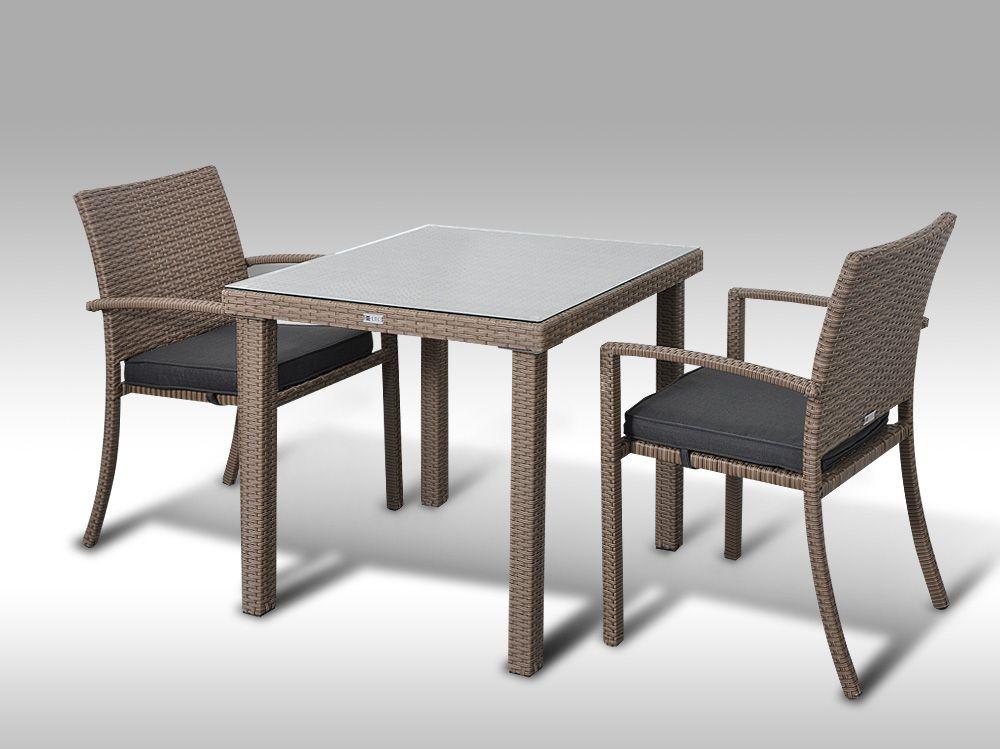 Umělý ratan - jídelní sestava Orlando 80 + 2 židle Armino šedobéžová
