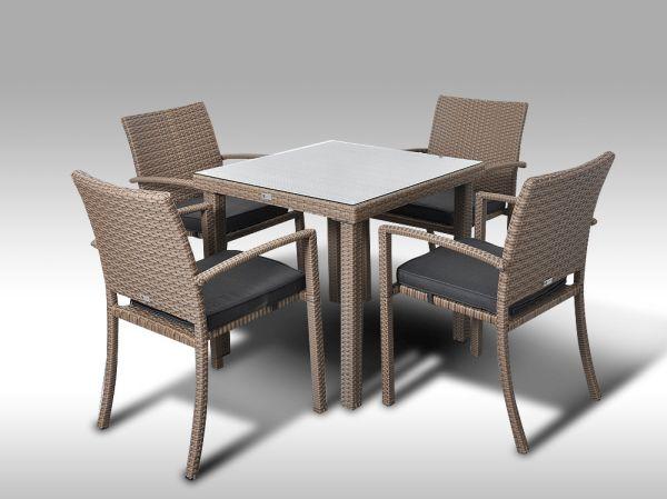 Umělý ratan - jídelní sestava Orlando 80 + 4 židle Armino šedobéžová