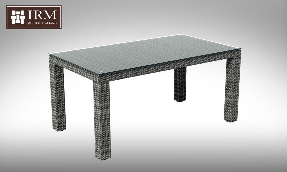 Umělý ratan - stůl Orso 160x90 šedý