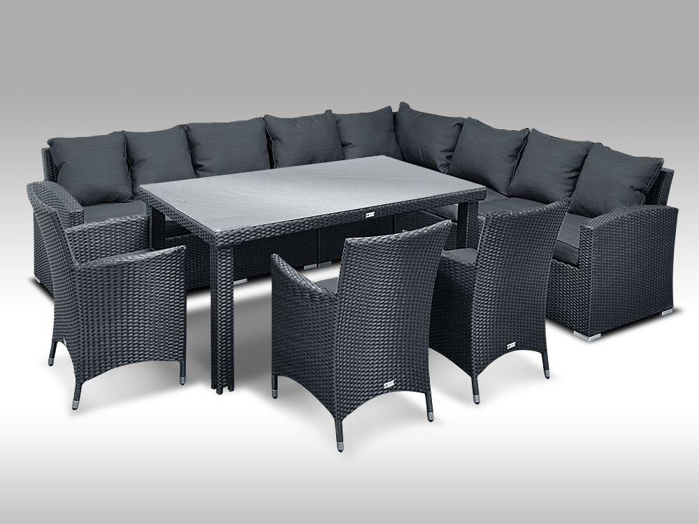 Luxusní sedací a jídelní souprava  PAOLA 9 2v1 černá 8 osob + DÁREK