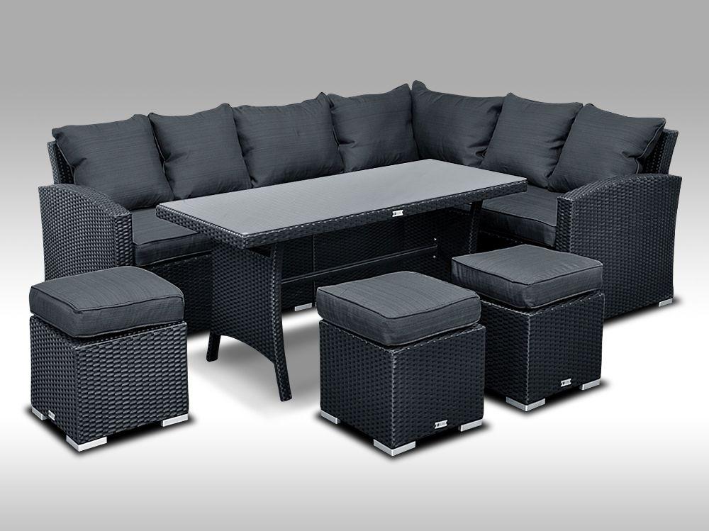 Luxusní sedací a jídelní souprava  PAOLA 1 2v1 černá 4-7 osob + DÁREK