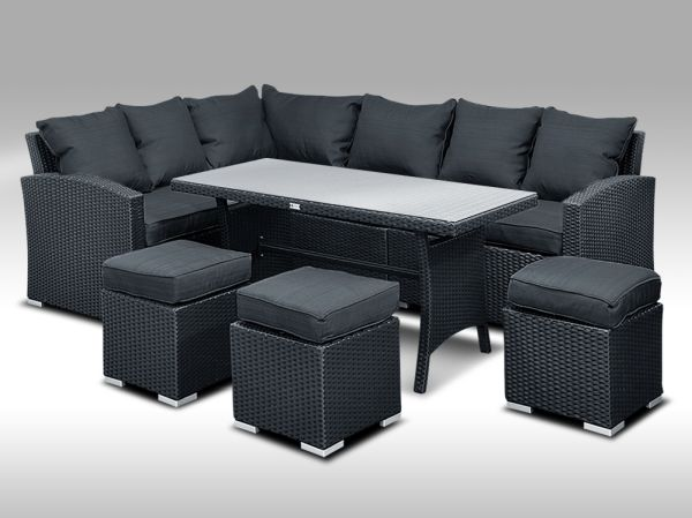 Luxusní sedací a jídelní souprava  PAOLA 2 2v1 černá 4-7 osob + DÁREK